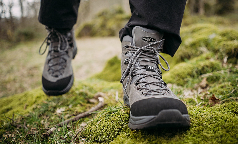 Close-up of a pair of Keen shoes